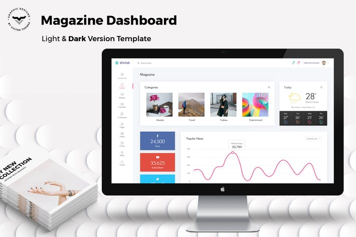 Thumbnail for Magazine Admin Dashboard UI Kit