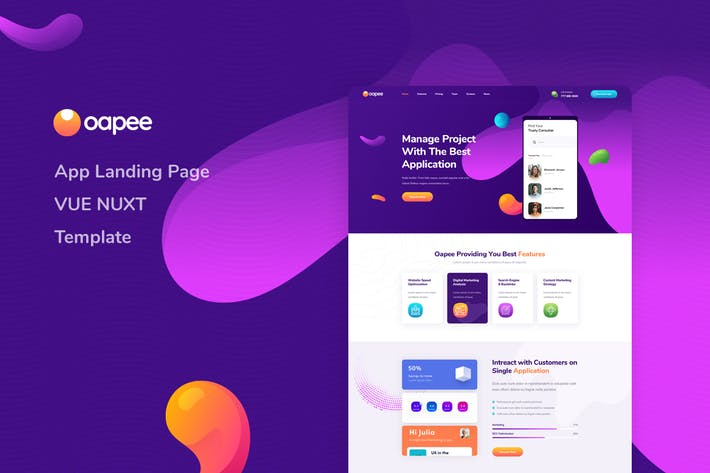 Thumbnail for Oapee - Vue Nuxt App Landing Page Template
