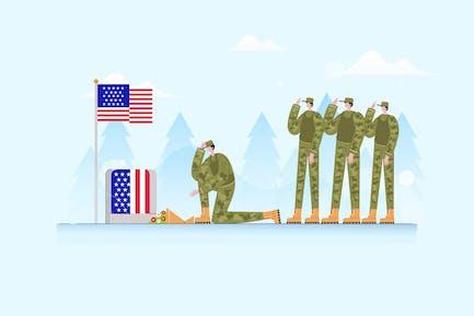 Veterans Day Soldier - Vector Illustration