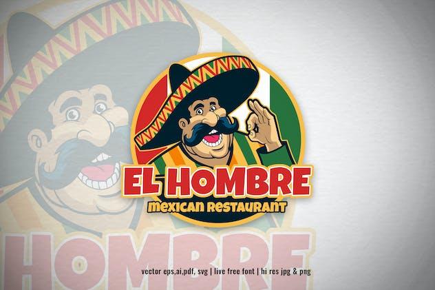 mexican chef cartoon restaurant logo
