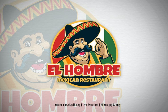 Thumbnail for mexican chef cartoon restaurant logo