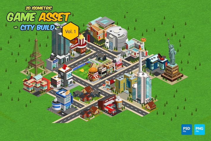 Thumbnail for 2D Isometric Game Asset - City Build Vol 1