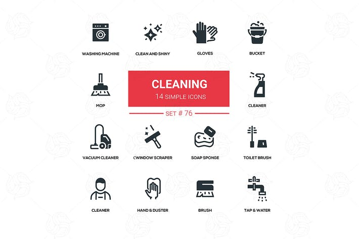 Cover Image For Cleaning - line design silhouette icons set