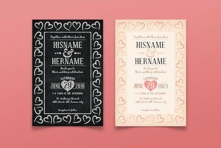 Invitation de mariage millésique/craie