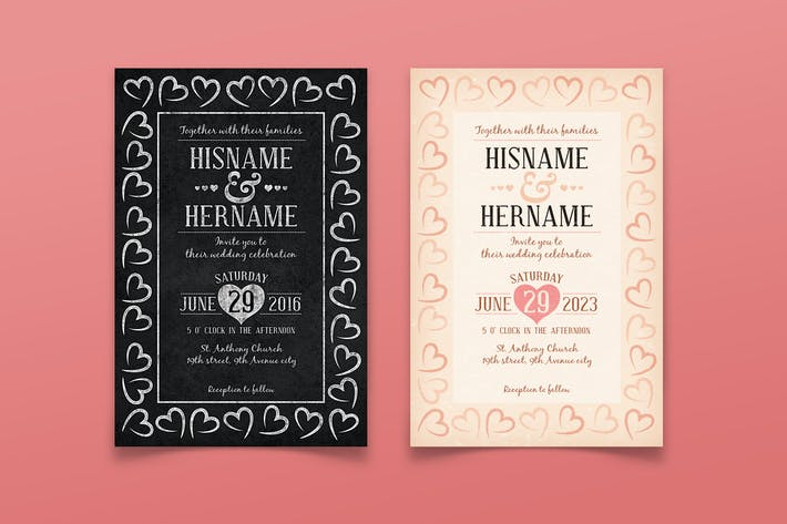 Thumbnail for Vintage/ Chalk Wedding Invitation