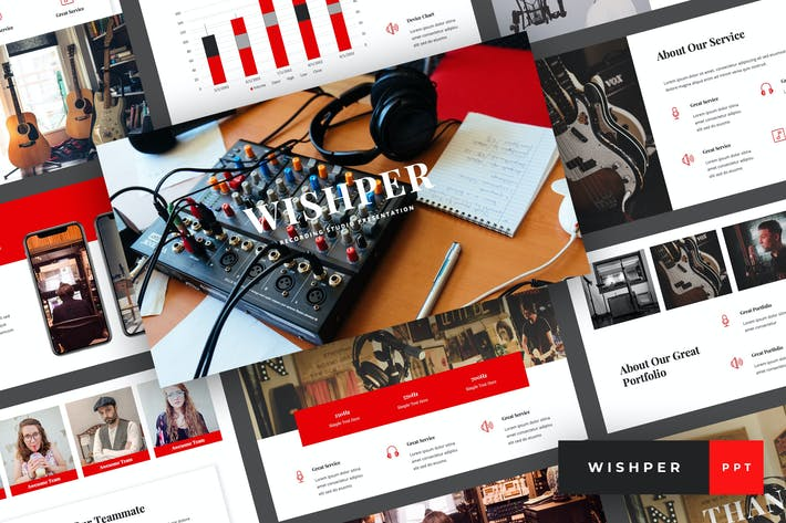 Thumbnail for Whisper - Recording Studio PowerPoint Template