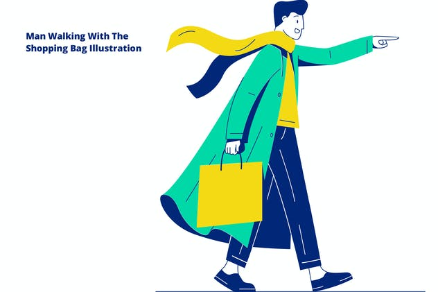 Man Walking With The Shopping Bag Illustration