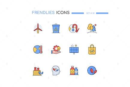 Ecology - Modern Line Design Style Icons Set