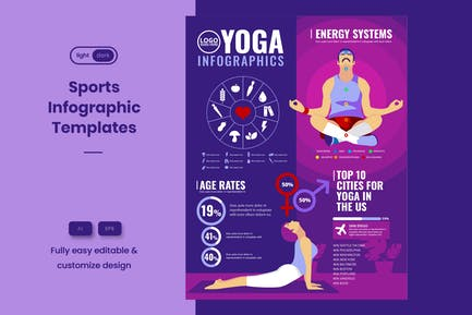 Sport-Infografik-Vorlage: Yoga & Heimtraining