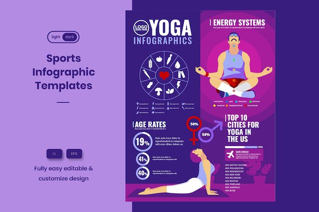 Sport Infographic Template: Yoga & Home Exercise