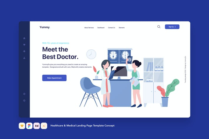 Thumbnail for Healthcare & Medical Landing Page Template Concept