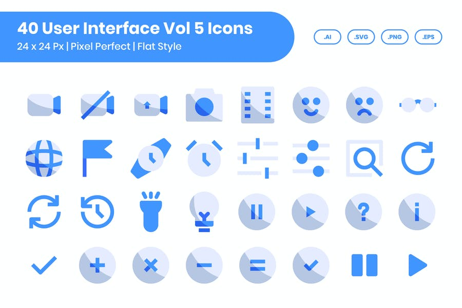 40 User Interface Vol 5 Icons Set - Flat