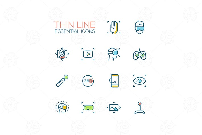 Thumbnail for Virtual Reality - Thin Single Line Icons Set