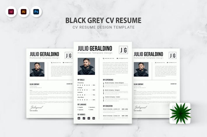 Thumbnail for Black Grey CV Resume