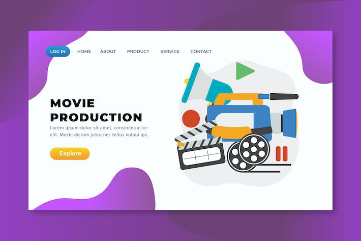 Thumbnail for Movie Production - XD PSD AI Vector Landing Page