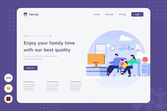 Family Quality Time - Website Header Illustration