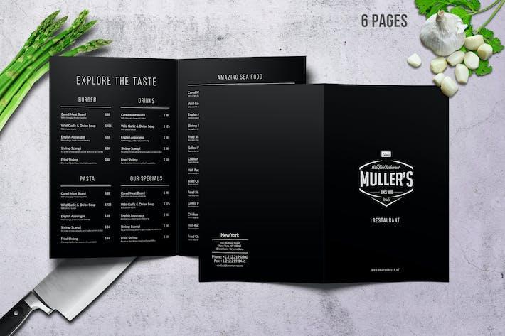Thumbnail for Müller's Bifold A4 & US Letter Elegant Menu