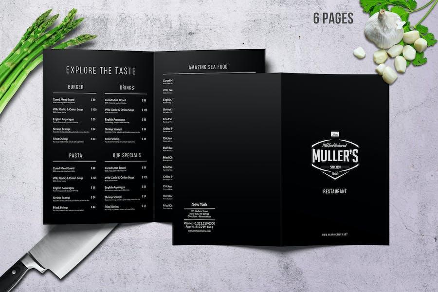 Muller's Bifold A4 & US Letter Elegant Menu