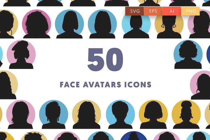 Thumbnail for 50 Face Avatars Icons