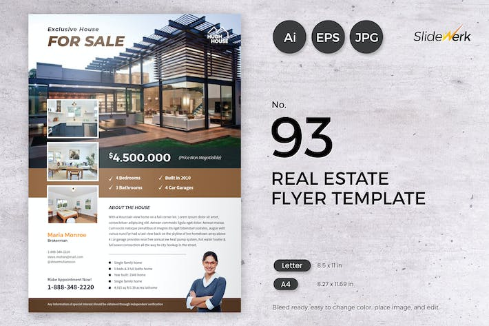 Thumbnail for Real Estate Flyer Template 93 - Slidewerk