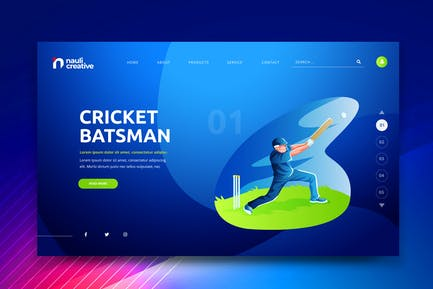 Cricket Sports Web PSD and AI Vector Template