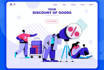 Discounts of Good Flat Concept Landing Page Header