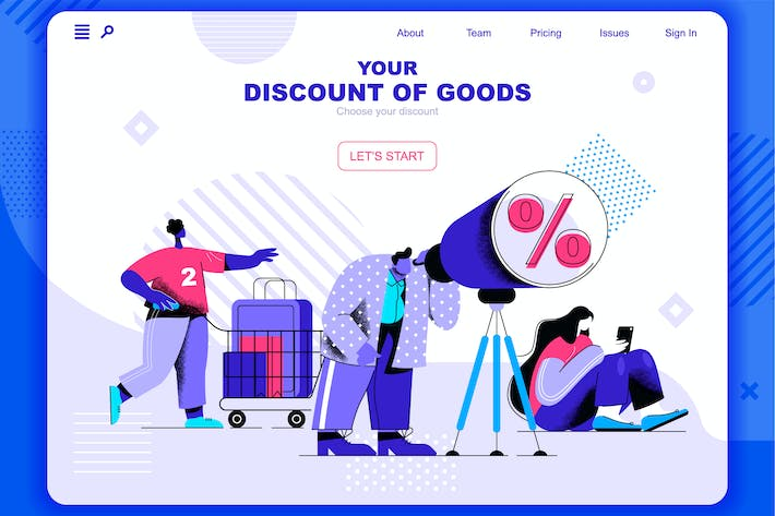 Thumbnail for Rabatte von Good Flat Concept Landing Page Header
