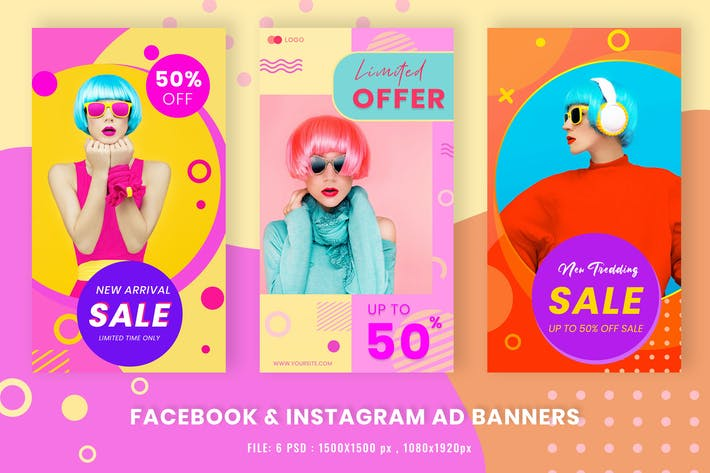 Thumbnail for Facebook & Instagram Ad Banners Shape Memphis