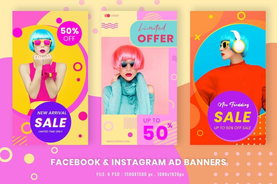 Facebook & Instagram Ad Banners Shape Memphis