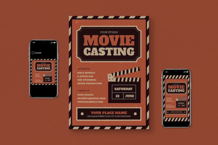 Thumbnail for Movie Casting Flyer Set