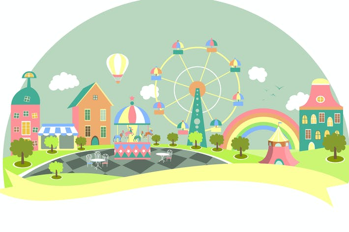 Thumbnail for Amusement park in flat style. Vector illustration