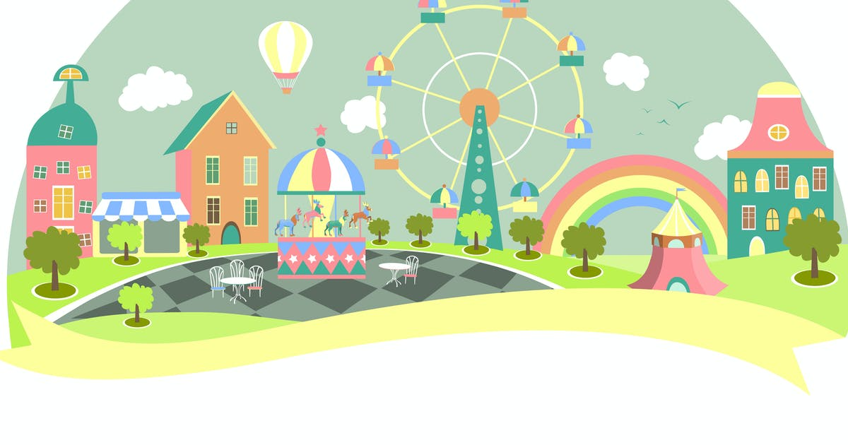 Download Amusement park in flat style. Vector illustration by masastarus