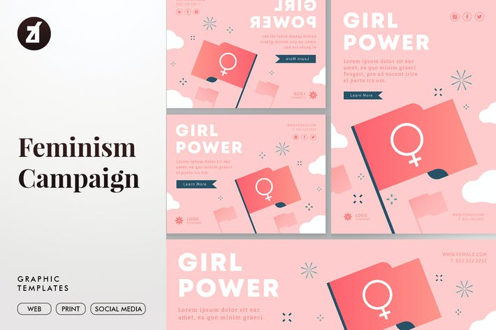 Thumbnail for Feminism Campaign Graphic Templates