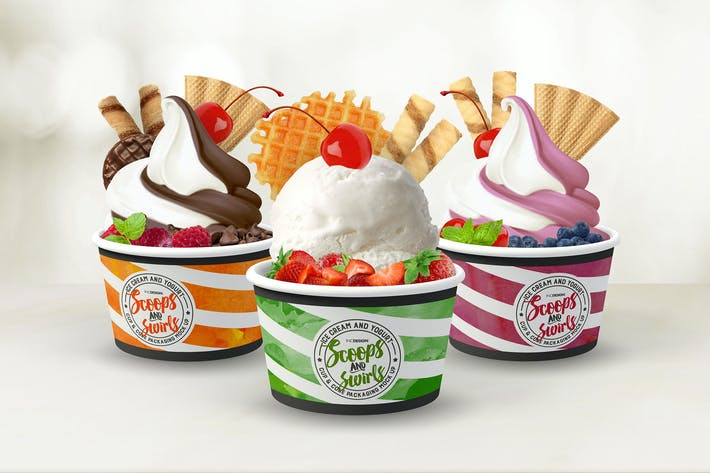 Thumbnail for Ice Cream or Yogurt Cup and Cone Packaging Mock Up
