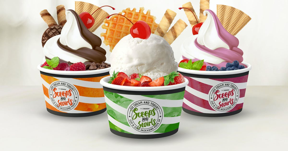 Download Ice Cream or Yogurt Cup and Cone Packaging Mock Up by ina717