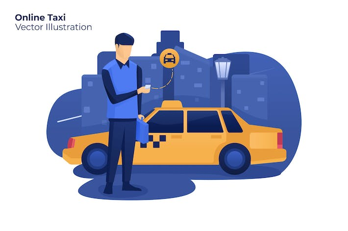 Thumbnail for Online Taxi - Vector Illustration