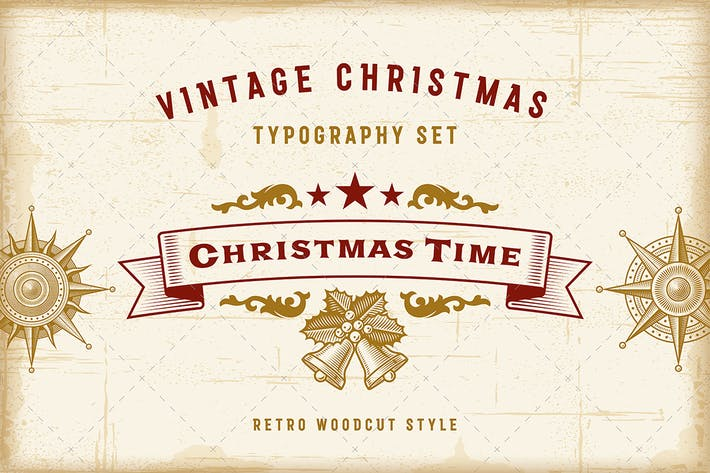 Thumbnail for Vintage Christmas Typography Set