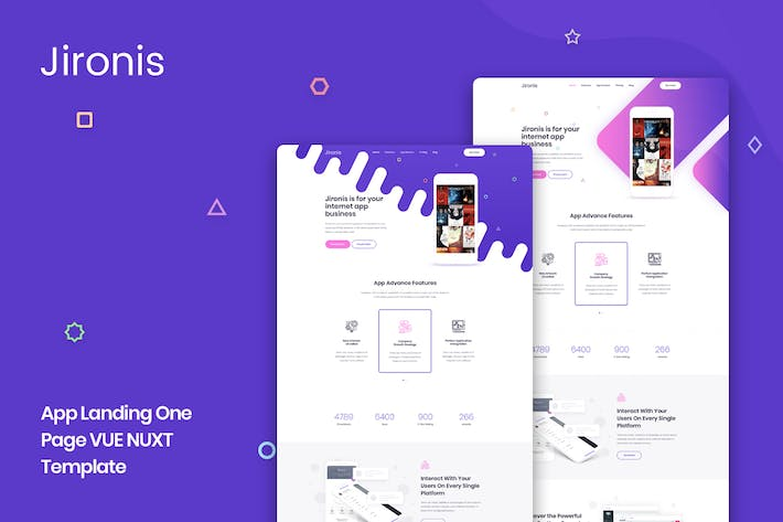 Thumbnail for Jironis - Vue Nuxt App Landing One Page Template