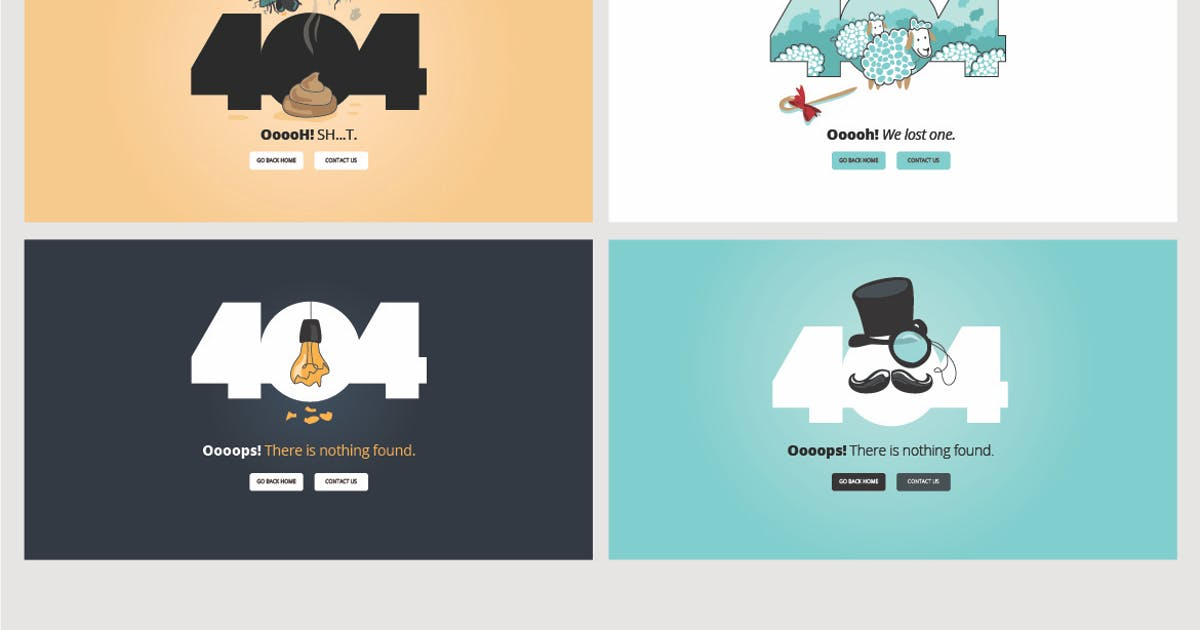 Download Set of flat designs for 404 error page by PureSolution