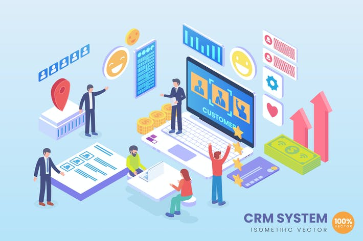 Thumbnail for Isometric CRM System Vector Concept Illustration