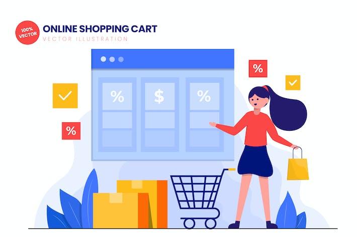 Thumbnail for Carro de la compra en línea ilustración Vector plana