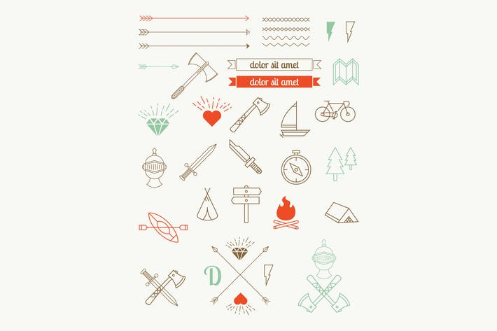 Thumbnail for set of vector icons, items, badges hipster style.