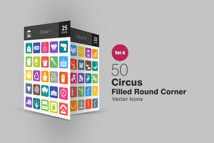 Thumbnail for 50 Circus Filled Round Corner Icons