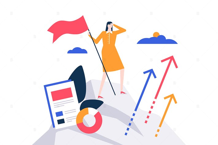 Thumbnail for Business leadership flat design style illustration