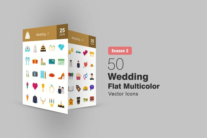Thumbnail for 50 Wedding Flat Multicolor Icons Season II