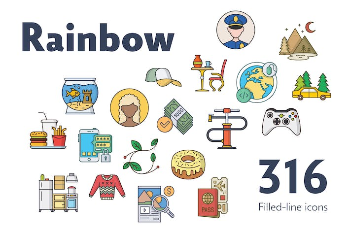 Thumbnail for Rainbow — 316 Filled-Line Icons Bundle