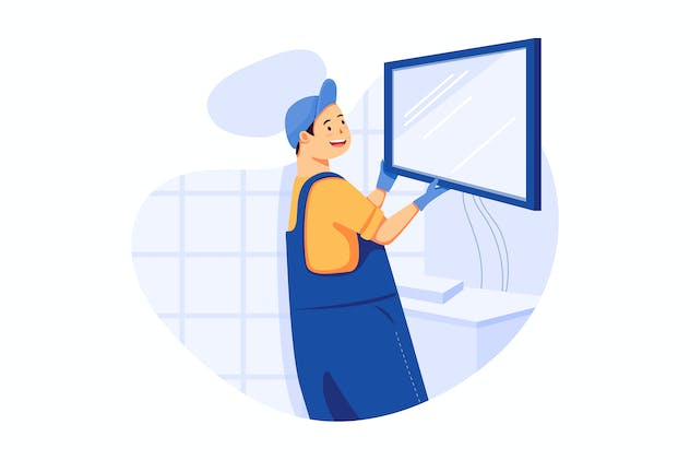 TV Mounting - Handyman Service Illustration - product preview 0