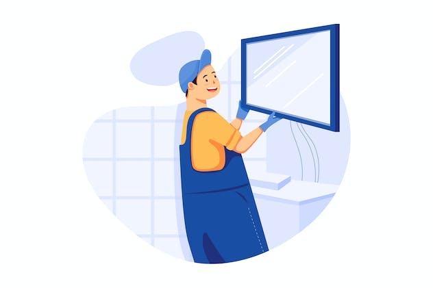 TV Mounting - Handyman Service Illustration