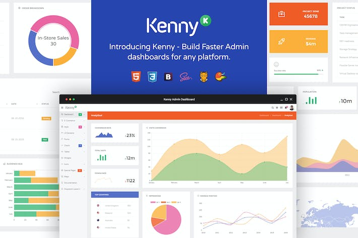 Thumbnail for Kenny – Dashboard / Admin Site Responsive Template