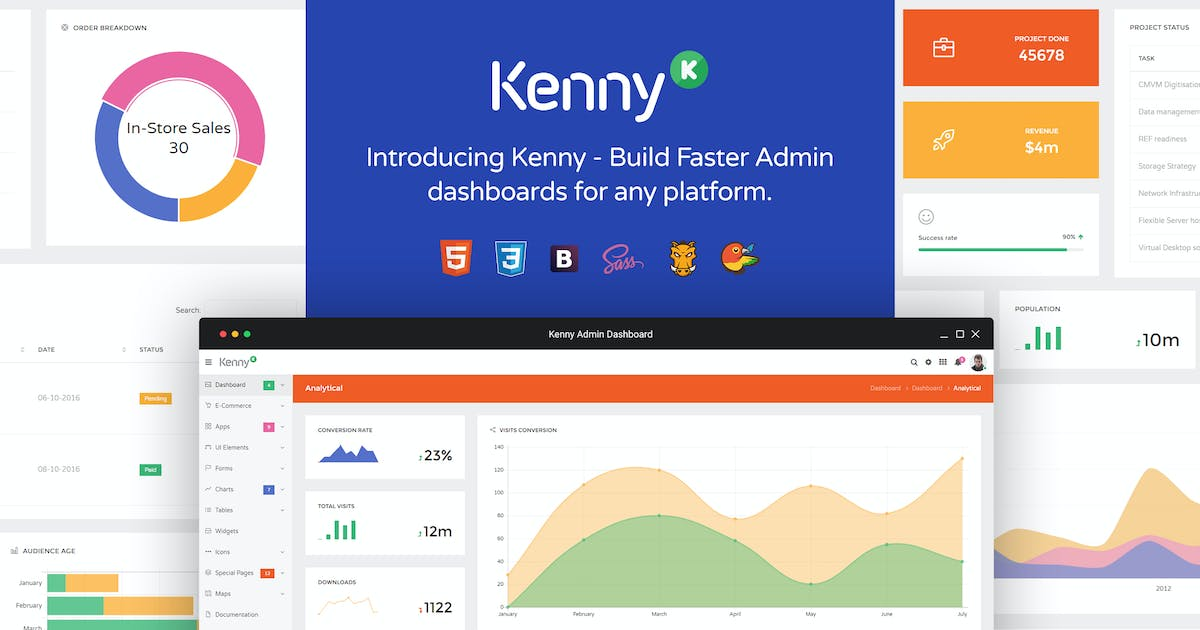 Kenny – Dashboard / Admin Site Responsive Template by Hencework